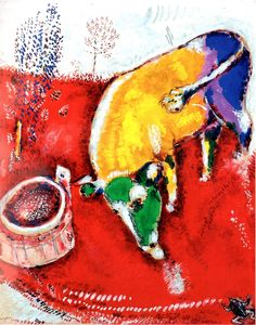 """amare-habeo: """" Marc Chagall (Bielorusian-French, The frog who wants to be as big as cow (La grenouille qui veut se faire aussi grosse que le boeuf), N/D """" Marc Chagall, Modern Artists, French Artists, Matisse, Gouache, Fauvism Art, Les Fables, Art Moderne, Cubism"""
