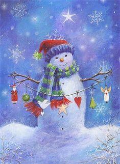 For Gray Scale - Sarah Summer's Snowman Christmas Scenes, Vintage Christmas Cards, Christmas Pictures, Christmas Snowman, Winter Christmas, Christmas Holidays, Christmas Crafts, Christmas Decorations, Christmas Ornaments