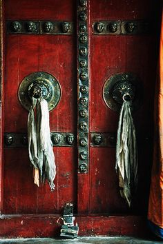 The prayer room doors of Diskit Gompa in the Nubra Valley, Ladakh.