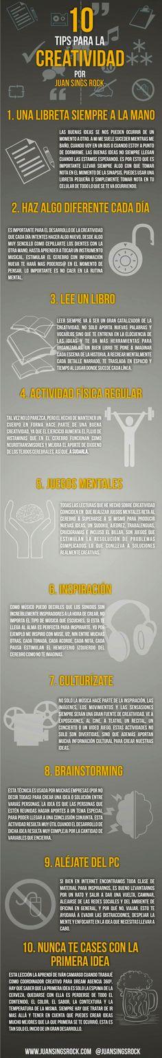 10 tips para habilitar (o aprender más de) tu creatividad #infografia (by @JuanSingsRock vía @pbongiovanni )