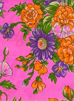 Vintage Fabric Bright Pink by Gollidrops on Etsy