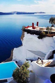 Caldera Terrace in Oia, Santorini , Greece