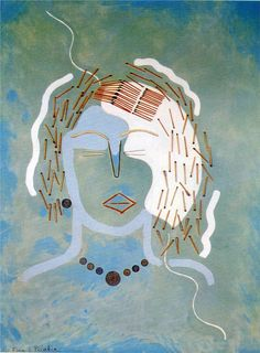 Francis Picabia ~ Match Woman, 1924-25 (collage, oil on canvas)