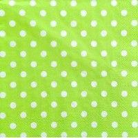 Servítka - Bodky biele na zelenom podklade