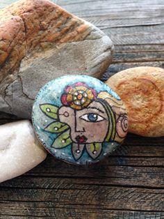 Hand Painted Rock Being  Flower Child by QueenofArtsStudio on Etsy, $15.50