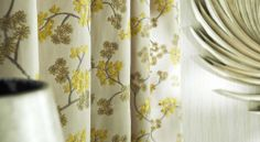 Prestigious Textiles - Exquisite Fabric Collection - Cream white curtain with mimosa yellow leaf pattern for a modern house setting Black Blinds, Mini Blinds, Roman Blinds, Curtains With Blinds, Prestigious Textiles, Luxury Curtains, Beautiful Curtains, Made To Measure Curtains, Curtain Patterns
