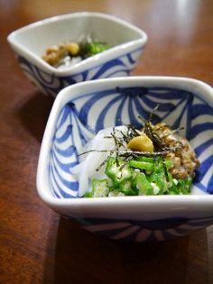 """Ika Natto"" as a Japanese Appetizer (Raw Squid Sashimi, Natto, Boiled Okra, Nori and Karashi Yellow Mustard on)|いかオクラ納豆"