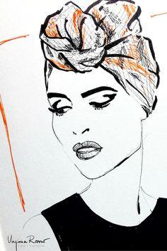 Headpiece: Scarf as a turban .  Illustration: Virginia Romo after a photograph by https://www.pinterest.com/myBEAUTYLIGHT/