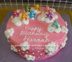 Homemade Care Bear Cloud Cake