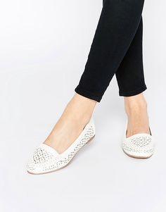 Image 1 ofHead over Heels By Dune Hasier White Cut Out Flat Shoes