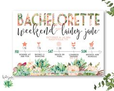 Our Favorite Etsy Bachelorette Invitations   We love this floral garden party bachelorette weekend invitation, which includes a weekend itinerary. Click to shop it!