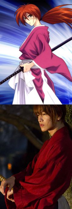 Rurouni Kenshin - Himura, Anime character + Himura Live Action Movie 2012 actor. Rurouni Kenshin Movie 2012 - two more movies are coming out in August + September 2014. (cute actor - Takeru Satoh)