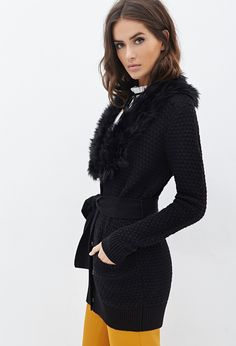 Faux Fur Collar Cardigan   Forever 21 - 2000083815