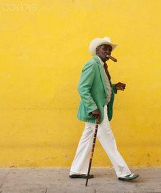 Cuban man smoking cigar