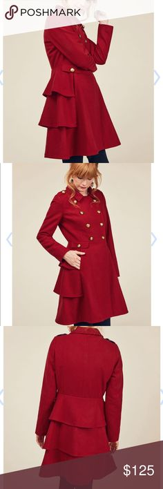 Modcloth Coat (nwot) Brand new never worn, ordered online so it didn't come with a tag on it. Just an extra button attached. Stunning coat! I ordered a 3X thinking they run small but it was too big. Definitely a true 3X. ModCloth Jackets & Coats Trench Coats