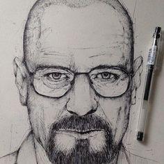 """Walter White"" breaking bad illustration ink  © Alfred Basha"