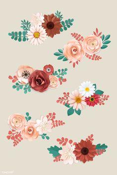 Orange Paper, Red Paper, Leaf Design, Floral Design, Pink Gerbera, Floral Embroidery Patterns, Floral Banners, Light Blue Background, Planner