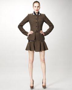 Varsity-Collar Jacket & Mixed-Tweed Skirt by Stella McCartney at Neiman Marcus.