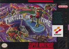 TMNT IV: Turtles In Time on SNES has an amazing cover, which matches an awesome game.  Konami had a string of awesome games with equally awesome box art.
