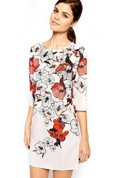 Fashion Blossoming Flower Mini Shift White Dress