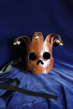 The Fool Hand Carved Leather Skull Mask with by Mascherina
