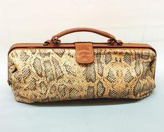 1980s FURLA Elongated Python Printed Leather Cognac, Cream Brown Doctor's Bag
