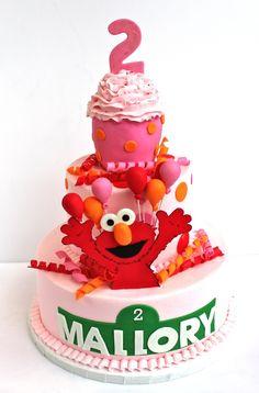 "Buttercream 10"" and 6"", jumbo CC, gumpaste Elmo, fondant decorations"