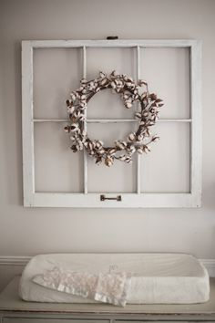 Soft Gray Nursery with a Mix of Old and New - On to Baby- Use different wreath and hang on a different wall