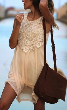 Lace Panel On Cream Tulle Dress