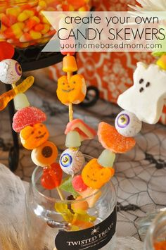 Tricks or Treats? Treats please! Here is a super cute party favor idea for your little one Halloween party! Halloween Candy Skewers ...cute and easy and extremely tasty!