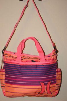 4fdab784d9d HURLEY-WOMENS-orange-pink-blue-MULTICOLOR-TOTE-BAG-WITH-SHOULDER-STRAP-BEACH