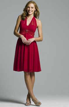 Reds Knee-length Ruffles Sleeveless Cocktail Dresses