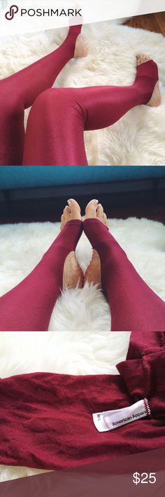 Stirrup Tights!!! These tights are beyond cool & functional! Need to wear tights but hate how constricting they are? That's why these stirrup tights are so wonderful & freeing. Durable and made to last you don't have to worry about ripping holes in the toes anymore. This rare vibrant color also has a slight shine to them so they sparkle in the light  No longer sold at AA. Blue and black pair have minor snags, all 3 pairs for $35 or just red pair for $25. Pics of snags in other listing…