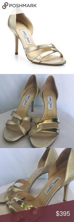 "Jimmy Choo Toscin Twist D'Orsay Metallic sandal Gently used Jimmy Choo Toscin Twist D'Orsay Metallic leather sandal in gold. Minimal signs of wear. Size 39.5. Heel height 3.5"" Jimmy Choo Shoes Heels"