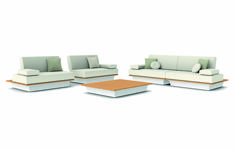 Manutti // The sofa's large, voluptuous cushions give a distinctive exotic elegance to every exterior - Air Collection Outdoor Sofa Sets, Outdoor Furniture Sets, Outdoor Decor, Modular Sofa, White Wood, Sofa Design, Floor Chair, Sofas, Exotic