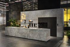 Stand Schuller / Next (Neolith Fusion Zaha Stone) - EuroCucina - Salone del Mobile 2018 Luxury Kitchen Design, Contemporary Kitchen Design, Luxury Kitchens, Interior Design Kitchen, Interior Decorating, Modern Design, Home Decor Kitchen, Kitchen Furniture, Chalet Modern