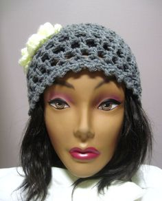 Gray Lacy Hat with Button Flower Accent