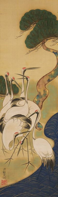 JIKU22722 rfNj JAPAN SCROLL OGATA KORIN PINE TREE & CRANE Japanese Textiles, Japanese Prints, Painting Prints, Art Prints, Paintings, Japanese Painting, Vintage Birds, Japan Art, Japanese Culture