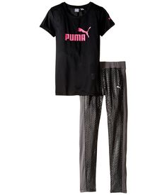 Puma Kids Girl's Pants and Tee Set (Big Kids) PUMA Black Clothing Set. PUMA Kids Size Guide. Don't just join the trend, set it. Find everything you need to stay comfortably sleek and stylish in this PUMA® Kids set. PUMA® Lifestyle apparel marries the essence of sports performance with the refined finishes and detailing of the fashion industry. Tee:. Super-soft poly fabric for all-day comfort. Brand graphics printed at front and left arm. Round neckline. Short sleeves. Straight…