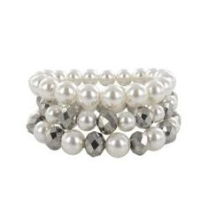 @Overstock - This bracelet set from Roman showcases cream-colored faux pearls mixed with faceted grey plastic beads. Each of these bracelets offers a stretch design for comfortable wear.http://www.overstock.com/Jewelry-Watches/Roman-Cream-Faux-Pearl-3-piece-Stretch-Bracelet-Set/6575028/product.html?CID=214117 $14.79