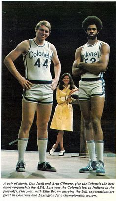 Dan Issel and Artis Gilmore of the Kentucky Colonels ABA days. Basketball Shorts Girls, Best Basketball Shoes, Basketball Leagues, Basketball Pictures, Basketball Legends, Basketball Uniforms, Basketball Games, Sports Pictures, Basketball Players