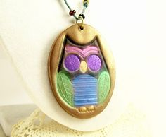 Whimsical Owl Pendant, Pendant Necklace, Polymer Clay Jewelry, Handmade by BobblesByCarol, $24.00 USD