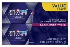 Crest 3D White Luxe Glamorous toothpaste Teeth Whitening That Works, Best Whitening Toothpaste, Teeth Whitening Remedies, Natural Teeth Whitening, Care Logo, Crest 3d White, Beauty Supply, White Teeth, Vibrant