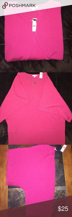 New York & Company Blouse Beautiful Pink Blouse with swoop neck, New York & Company, brand new never worn. 100% Acrylic New York & Company Tops Blouses