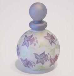 Glass Mini Perfume Bottle With hand painted Purple Flowers   eBay