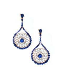 Etho 18k Open Flower Circle Drop Earrings - Etho 18k Open Flower Circle Drop Earrings. 18k Pink Gold Circle Flowers with Cabochon Blue Sapphires, Pave Diamonds, and Marquis Aquamarine. Total Sapphire Weight 37.46cts, Total Diamond Weight 1.11, Total Aquamarine Weight 14.04cts
