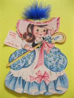 Storyland Dolls Front Back Card Little Bo Peep_American Greetings, 1949