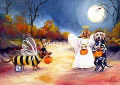 Happy Halloweenie The Buzz Dachshunds SM Violano by Stella Violano