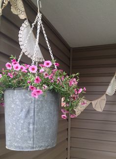 Items similar to Vintage Galvanized Sap Bucket Upcycled to Hanging Flower Basket on Etsy Garden Site, Outdoor Settings, Hanging Baskets, Buckets, Shop Ideas, Upcycle, Planter Pots, Boutique, Handmade Gifts