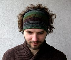 Knitted Mens Headband Guys knit hair wrap - green brown Adults Dread band by mareshop on Etsy